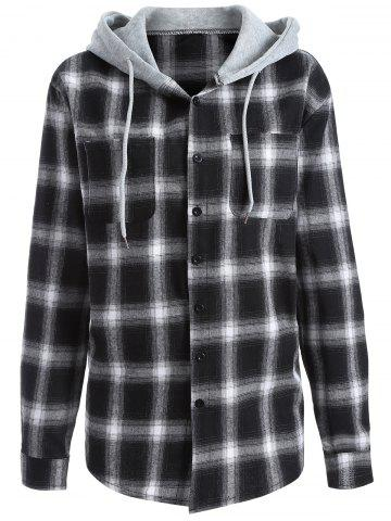 Buy Casual Hooded Loose Gingham Checked Shirt WHITE/BLACK L