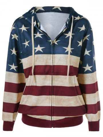 Latest American Flag Pattern Zipper Up Hoodie