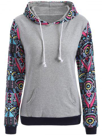 Sale Pocket Geometric Pattern Hoodie GRAY XL