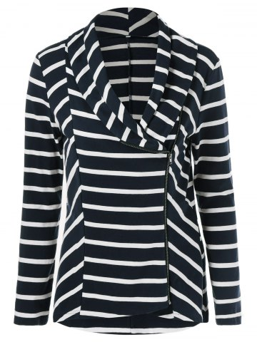 Fancy Zipper Up Striped Jacket