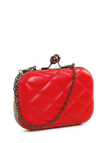 Fashion PU Leather Kiss Lock Quilted Evenig Bag