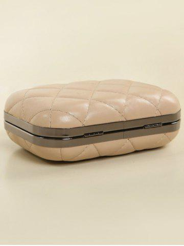 Chic PU Leather Kiss Lock Quilted Evenig Bag - NUDE  Mobile