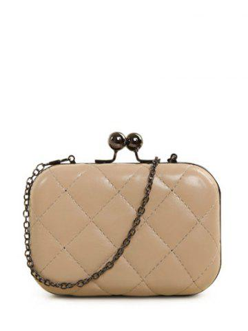 Shops PU Leather Kiss Lock Quilted Evenig Bag - NUDE  Mobile