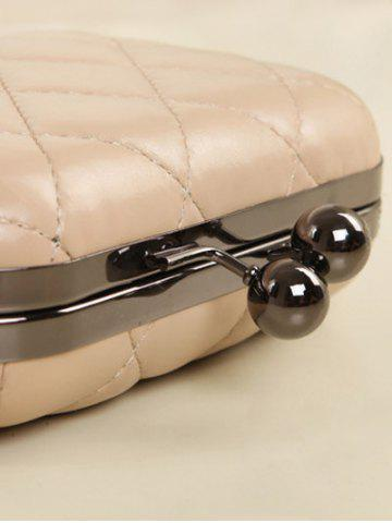 Hot PU Leather Kiss Lock Quilted Evenig Bag - NUDE  Mobile