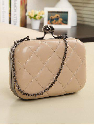 Outfit PU Leather Kiss Lock Quilted Evenig Bag - NUDE  Mobile