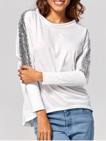 Latest Batwing High Low Sequin T-Shirt WHITE M