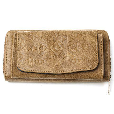 Trendy Geometric Embossed PU Leather Zip Around Wallet - KHAKI  Mobile