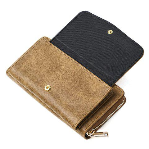 Latest Geometric Embossed PU Leather Zip Around Wallet - KHAKI  Mobile