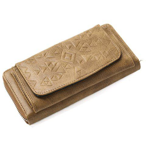 Hot Geometric Embossed PU Leather Zip Around Wallet - KHAKI  Mobile