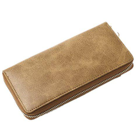 Fashion Geometric Embossed PU Leather Zip Around Wallet - KHAKI  Mobile