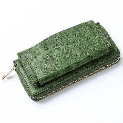 Hot Geometric Embossed PU Leather Zip Around Wallet - GREEN  Mobile