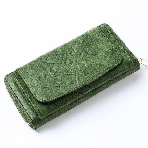 Fashion Geometric Embossed PU Leather Zip Around Wallet - GREEN  Mobile