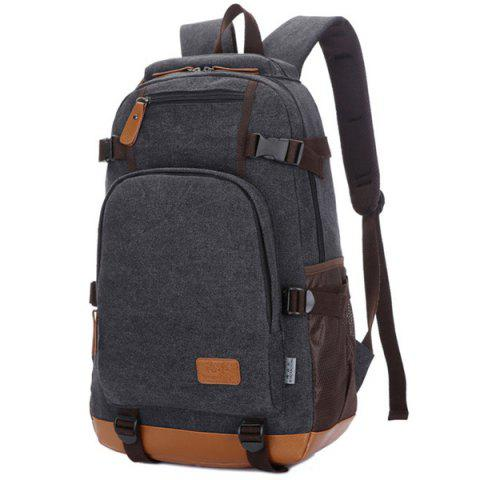 Shop Casual PU Leather Spliced Canvas Backpack - BLACK  Mobile