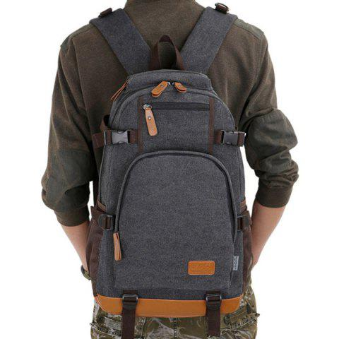 Fancy Casual PU Leather Spliced Canvas Backpack - BLACK  Mobile