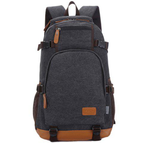Casual PU Leather Spliced Canvas Backpack - BLACK
