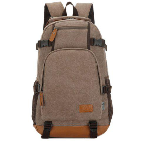 Fancy Casual PU Leather Spliced Canvas Backpack