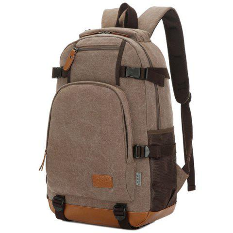 Shop Casual PU Leather Spliced Canvas Backpack - COFFEE  Mobile