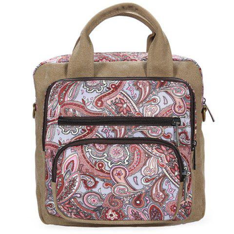 Ethnic Style Canvas Paisley Print Backpack - Wine Red - 38