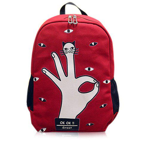 Chic Casual Eyes Finger Print Canvas Backpack