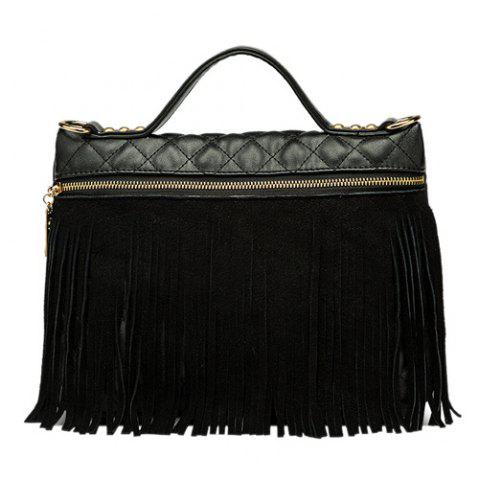Buy Fringe PU Leather Quilted Bag