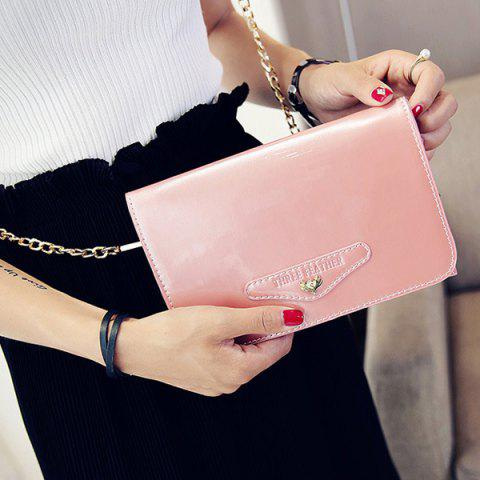Outfits Letter Embossed Patent Leather Crossbody Bag PINK