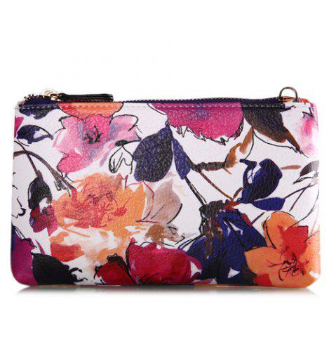 Chains Colored Floral Printed Pouch Bag - Purple