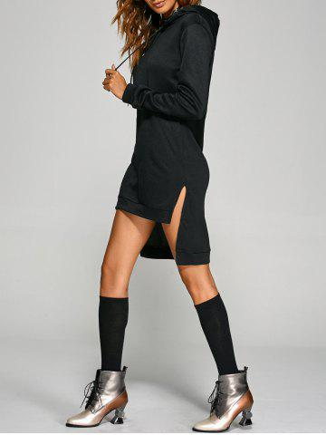 Active Slit Drawstring Hoodie Dress - BLACK 3XL