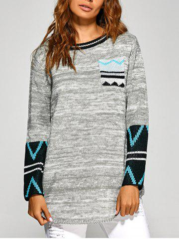 Latest Zigzag Tunic Knitwear with Front Pocket LIGHT GRAY ONE SIZE