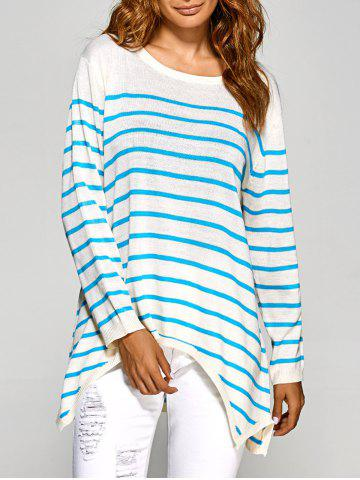 Affordable Shark Mouth Hem Striped Tunic Knitwear