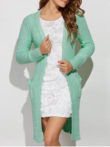Collarless Pockets Long Side Slit Cardigan - Light Green - One Size