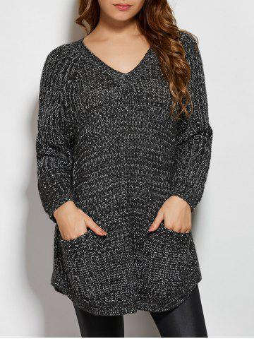 Affordable V Neck Pockets Sweater DEEP GRAY ONE SIZE