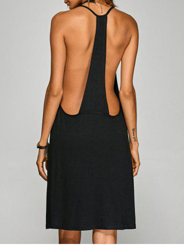 Racerback Knee Length Club Cami Dress - BLACK M