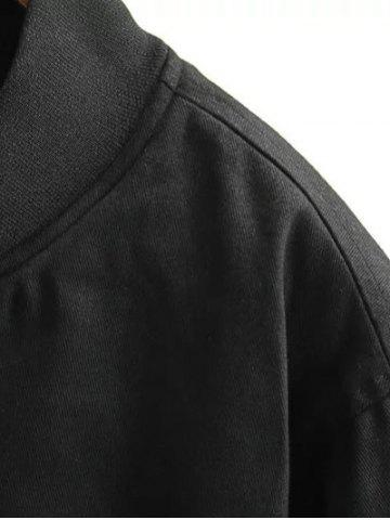 Outfit Stand Neck Letter Embroidered Cotton Linen Coat - 3XL BLACK Mobile
