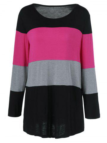 Chic Plus Size Colorful Striped Comfy T-Shirt BLACK AND PINK 5XL
