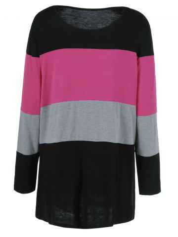 Store Plus Size Colorful Striped Comfy T-Shirt - 2XL BLACK AND PINK Mobile
