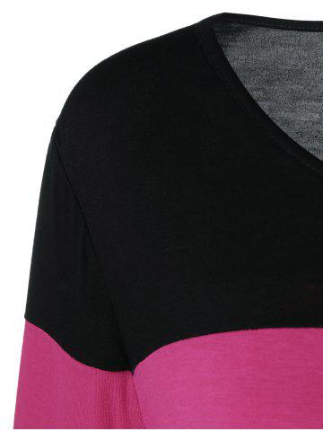 Cheap Plus Size Colorful Striped Comfy T-Shirt - 2XL BLACK AND PINK Mobile