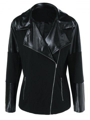 Plus Size Inclined Zipper PU Patchwork Jacket - BLACK XL