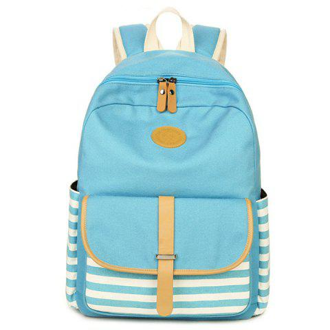 Hot Metal Striped Pattern Color Splicing Backpack LAKE BLUE