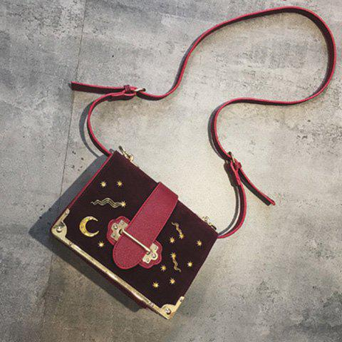 Chic Splicing Metal Corner Square Shape Crossbody Bag