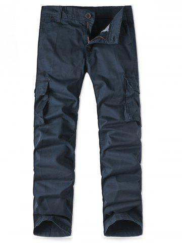 Fashion Zipper Fly Pockets Design Straight Leg Cargo Pants