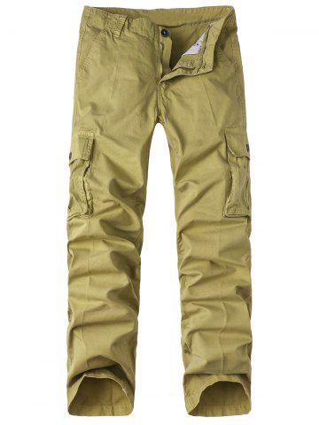 Sale Zipper Fly Pockets Design Straight Leg Basic Cargo Pants KHAKI 34