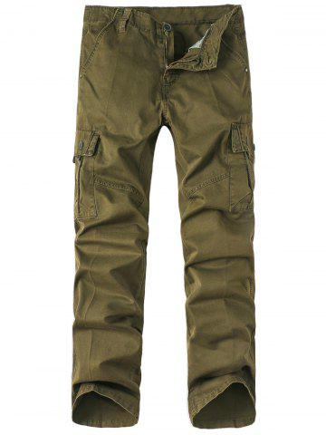 Buy Zipper Fly Pockets Embellished Straight Leg Basic Cargo Pants OLIVE GREEN 32