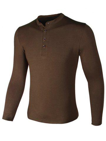 Store Grandad Collar Buttons Design Long Sleeve T-Shirt COFFEE 3XL