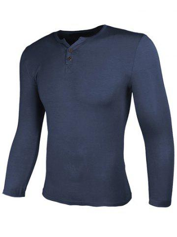 Buy Crew Neck Buttons Design Long Sleeve T-Shirt