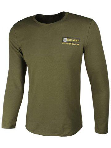 Sale Crew Neck Star and Graphic Print Long Sleeve T-Shirt ARMY GREEN 3XL