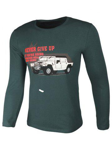 Crew Neck Car and Graphic Print Long Sleeve T-Shirt