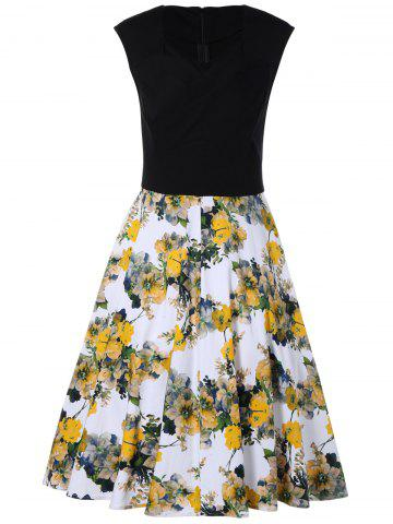 Trendy Flowers Print Sleeveless Dress