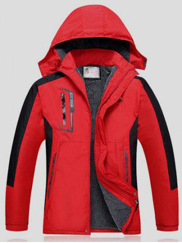 Best Color Block Detachable Hood Ski Jacket