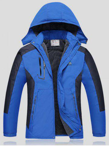 Color Block Detachable Hood Ski Jacket - Blue - 2xl