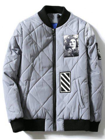 Affordable Zipper-Up Applique Rhombus Quilted Jacket
